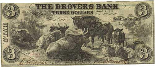 Private Bank Note, Drover's Bank, Salt Lake City, Utah, $3, 1856