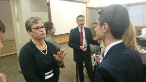 Students talk with Adrian Rodriguez and Susan Sutherland (SF Fed Senior VP, Equal Employment Opportunity, HR, Statistics, Director of the Office of Minority and Women Inclusion, and Seattle Branch Manager)